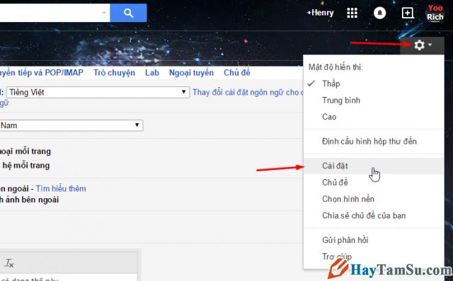 vào phần cài đặt gmail