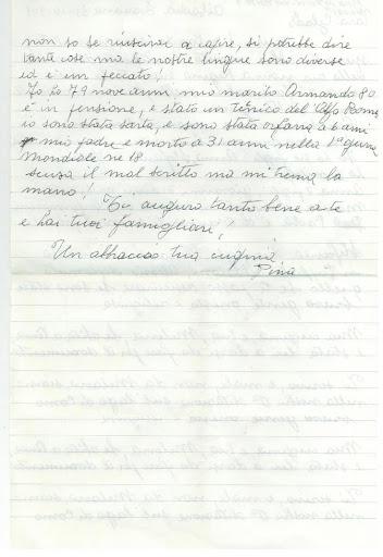 1991 - La lettera di Pina, cugina di mia mamma