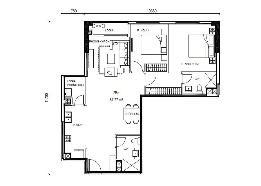 Thông số chi tiết căn hộ 2 phòng ngủ DT: 87,77m2