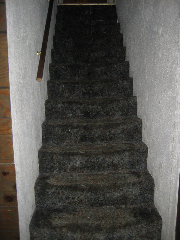carpet & dark wainscoting, with a spongy drop ceiling Love it title=