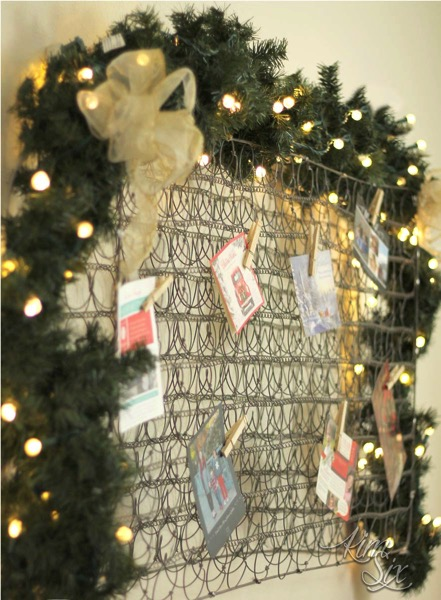 Christmas Card display from old mattress springs