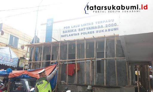 Pos Lantas Cicurug dalam tahap pembangunan / Foto : Rapik Utama (10/1/2019)