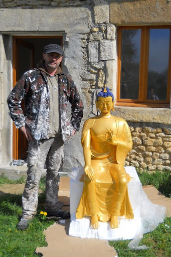 Recently arrived Maitreya Statue at Centre Kalachakra, France, April 2012