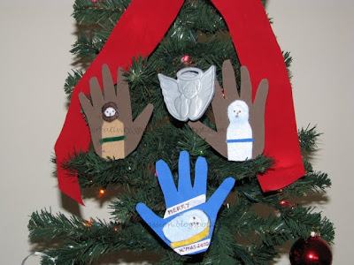 Hand print nativity scene Ornaments