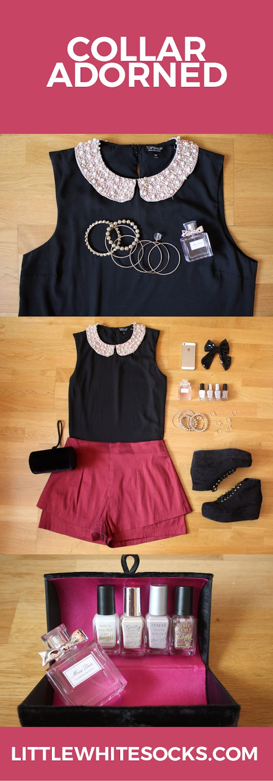 embroilered collar blouse metallic shorts outfit