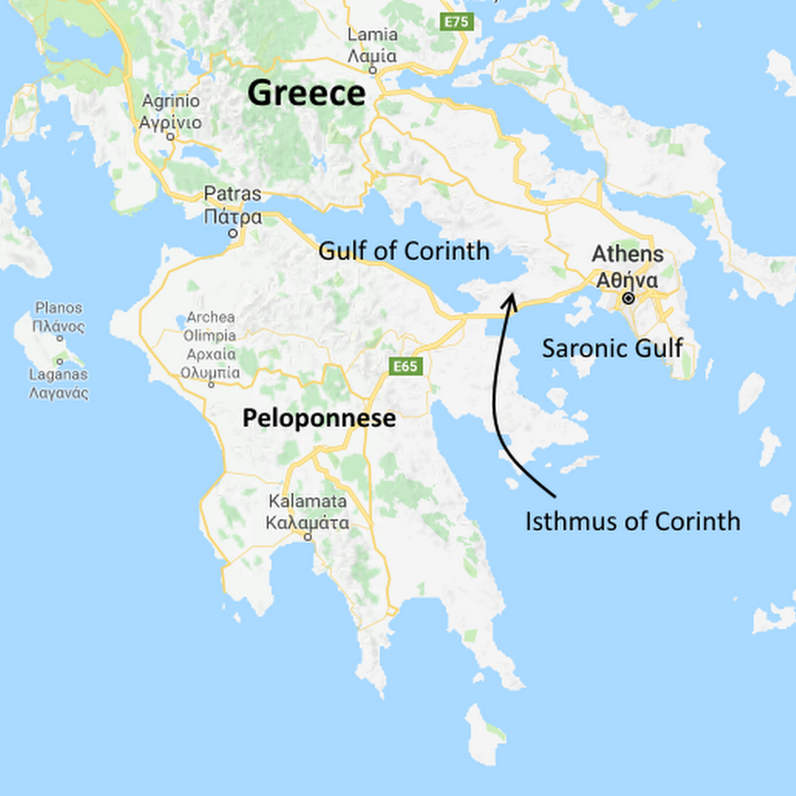 Map Of Corinth Diolkos: An Ancient Trackway That Carried Ships Over Land