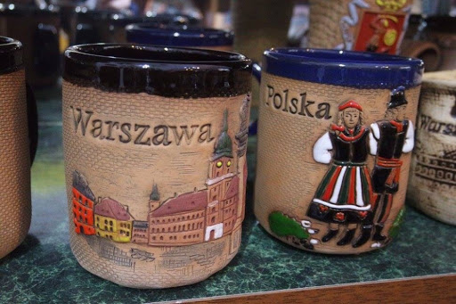 Cups and mugs at the Warsaw Old Town