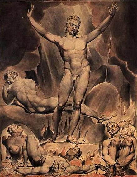 Satan Arousing the Rebel Angels, 1808 (by Blake, William (1757-1827) pen and watercolour