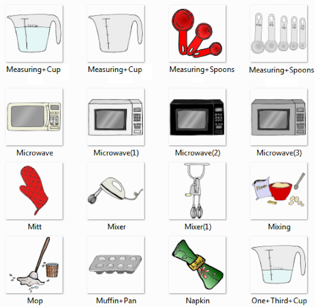 superior Kitchen Appliances Names #3: Measuring Cup, Measuring Spoons, Microwave, Mitt, Mixer, Mixing, Mop,  Muffin Pan, Napkin, One Third Cup