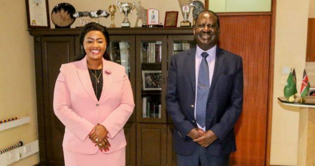 New capitol hill laundry... Raila Odinga with Cate Waruguru capitol hill