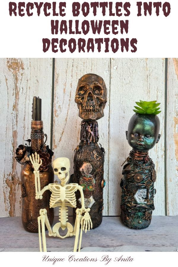 DIY Upcycled Halloween Wine Bottle Decorations