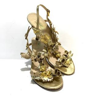 Prada Metallic Floral Sandals