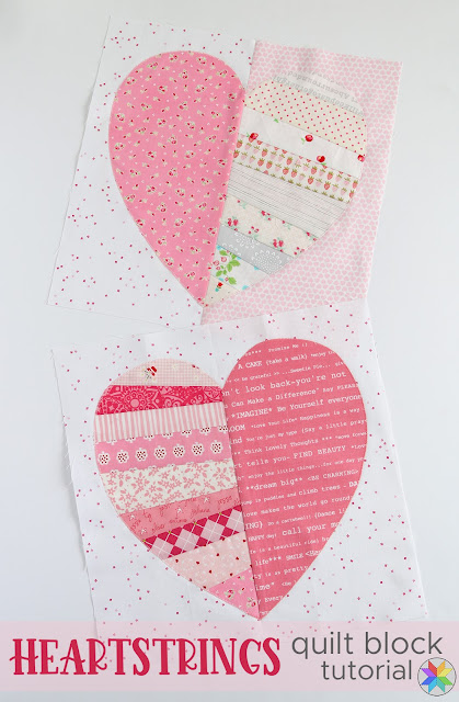 Heartstrings Quilt Block Tutorial by A Bright Corner - so fun and scrappy and would be great for a quilt block swap