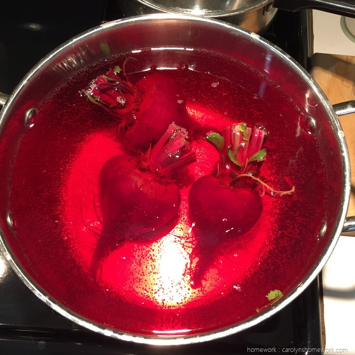 Beets boiling in beet red water via homework