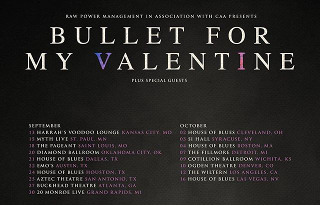 Bullet For My Valentine Fall 2018 Gravity Tour Dates