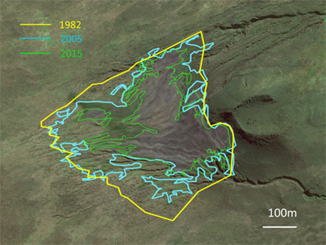 Île aux Cochons king penguin colony boundary in 1982, 2005, and 2015. The gradual shrinkage of bare ground surface area, corresponds to the reduction in the extent of colony. Graphic: Henry Weimerskirch