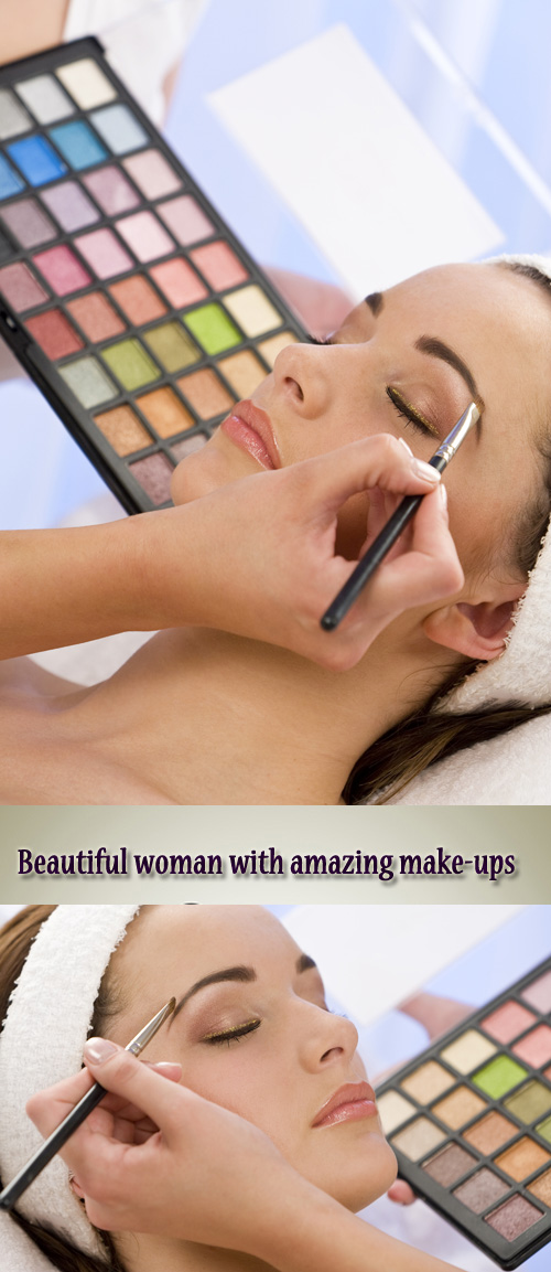 Stock Photo: Beautiful woman with amazing make-up
