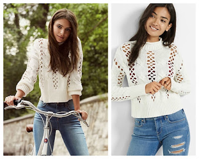 Emily Ratajkowski in Express Crochet Cable Knit Mock Neck Sweater