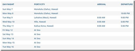 Hawaii Celebrity 5-7-17 Itinerary (2)