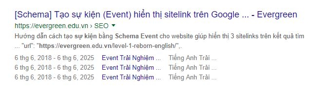 3 sitelinks của schema event trên Google Search