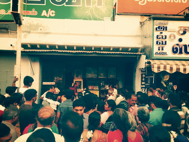 Crowd at Iruttu Kadai Halwa - iconic halwa store of Tirunelveli