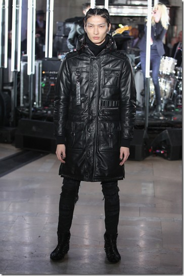 NEW YORK, NY - FEBRUARY 13:  A model walks the runway wearing look #68 for the Philipp Plein Fall/Winter 2017/2018 Women's And Men's Fashion Show at The New York Public Library on February 13, 2017 in New York City.  (Photo by Thomas Concordia/Getty Images for Philipp Plein)