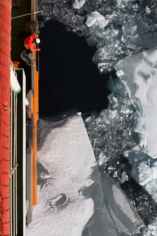 Nansen and Amundsen Basins Observational System research cruise participants watch Arctic sea ice in summer 2015 from a deck on the research vessel 'Akademik Tryoshnikov'. Photo: Igor Polyakov