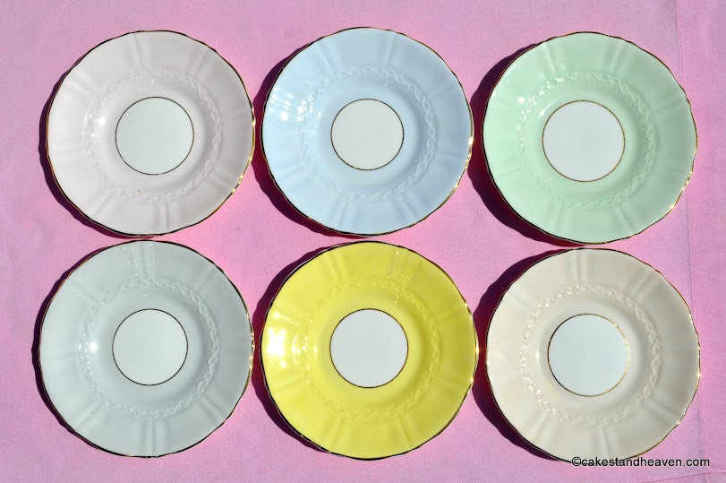 Colourful bone china plates from the 1940s