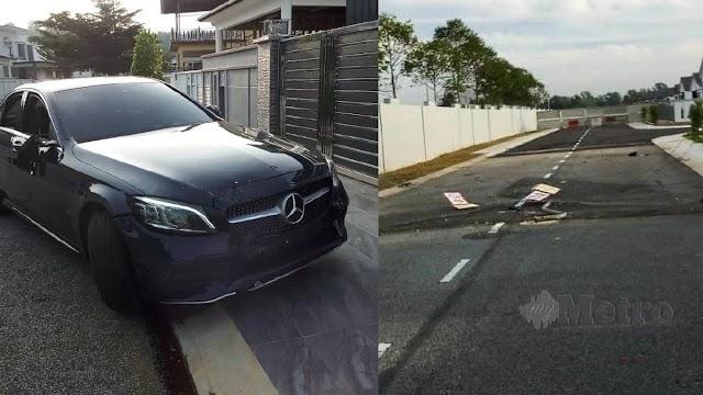 Pemandu mabuk rempuh pagar rumah, palang automatik