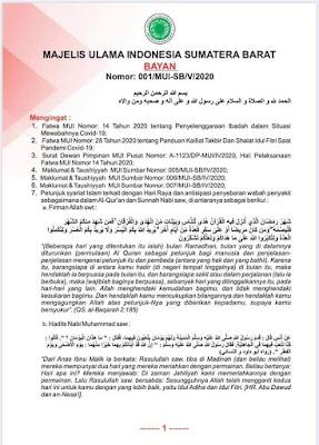 arahan MUI Sumatera Barat terkait idhul fitri dimasa covid-19
