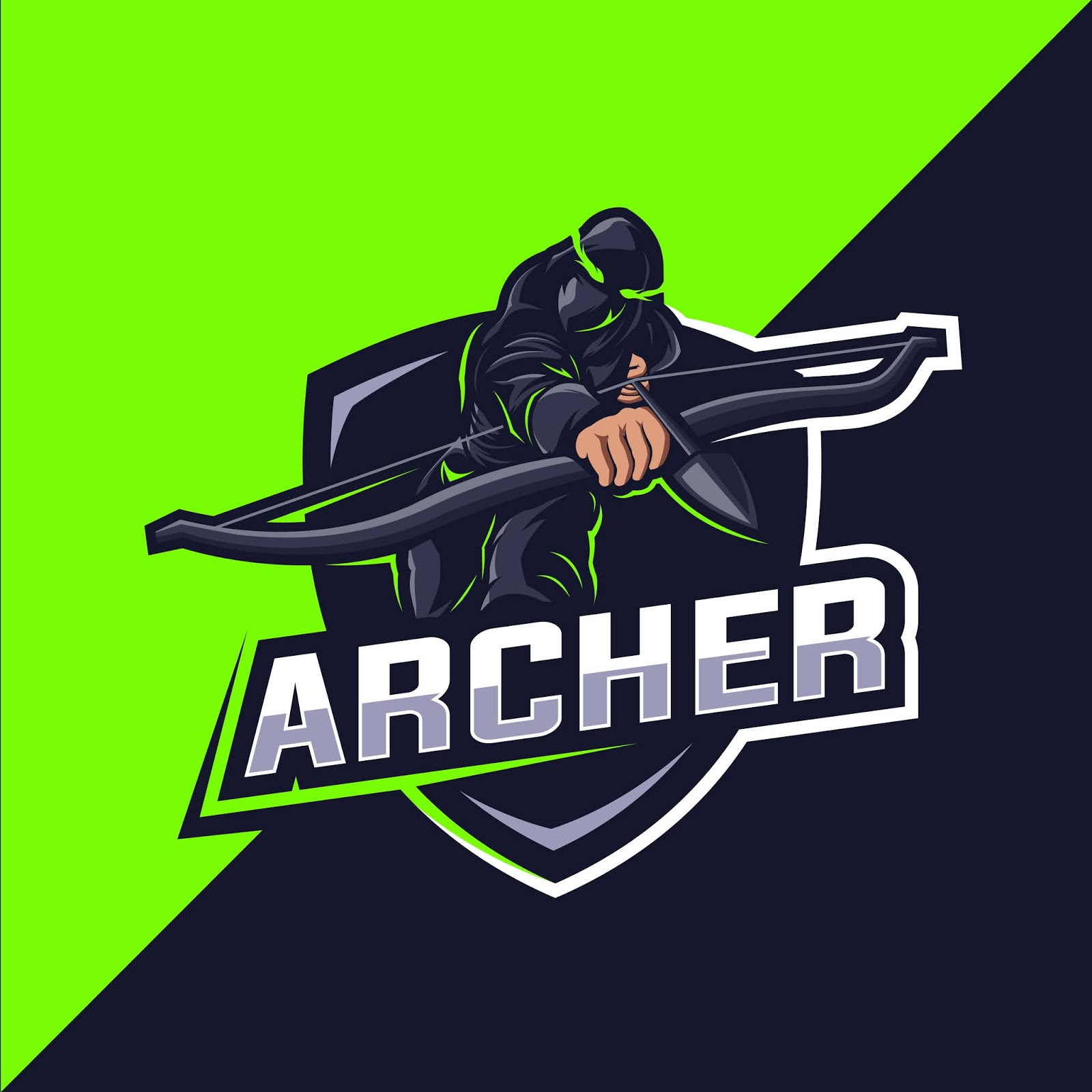 Archer Green Esport Mascot Logo Design Free Download Vector CDR, AI, EPS and PNG Formats