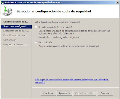 Hacer copia de seguridad de un equipo completo con Windows Server 2008