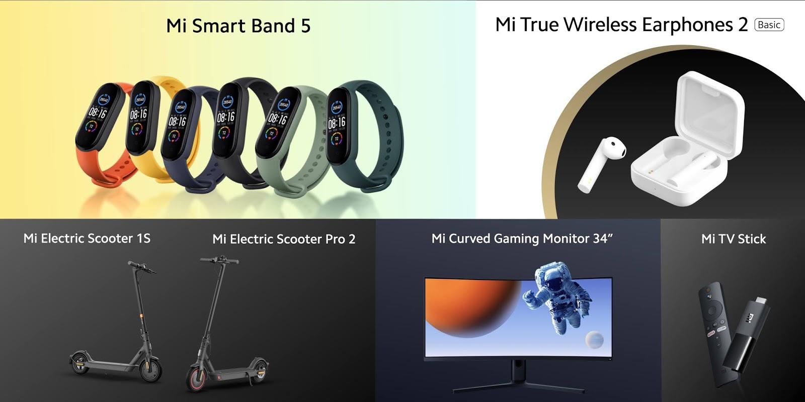 """พบกับสินค้ายอดนิยมในดวงใจเวอร์ชั่นล่าสุด Mi Smart Band 5 และ Mi Electric Scooter Essential พร้อมเปิดตัวอุปกรณ์ความบันเทิงใหม่ล่าสุดอีกมาย Mi True Wireless Earphones 2 Basic, Mi TV Stick และ Mi Curved Gaming Monitor 34"""" จาก Xiaomi"""