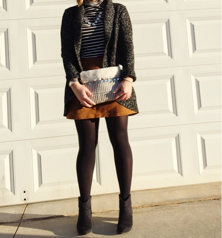 cozy and chic, how to wear a suede mini skirt, mom style
