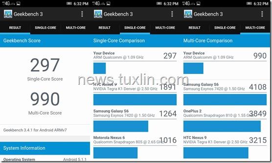 Benchmark Lenovo Vibe C Geekbench 3