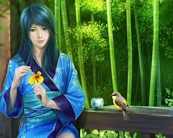 Japanese Girl Feeding Birds, Spirit Companion 1