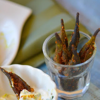 Spicy Baked Okra Fries with Homemade Creole Spice and Lime-Cilantro Dip Recipe
