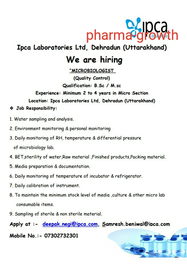 Ipca Laboratories Ltd – Urgently Opening for Microbiologist