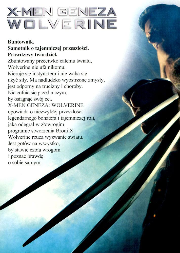 Ulotka filmu 'X-Men Geneza: Wolverine (tył)'