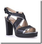 Geox Block Heel Black Leather Platform Sandal