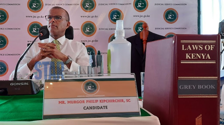 Philip Murgor before the vetting panel at the supreme court on April 16, 2021. Photo/ Fredrick Omondi