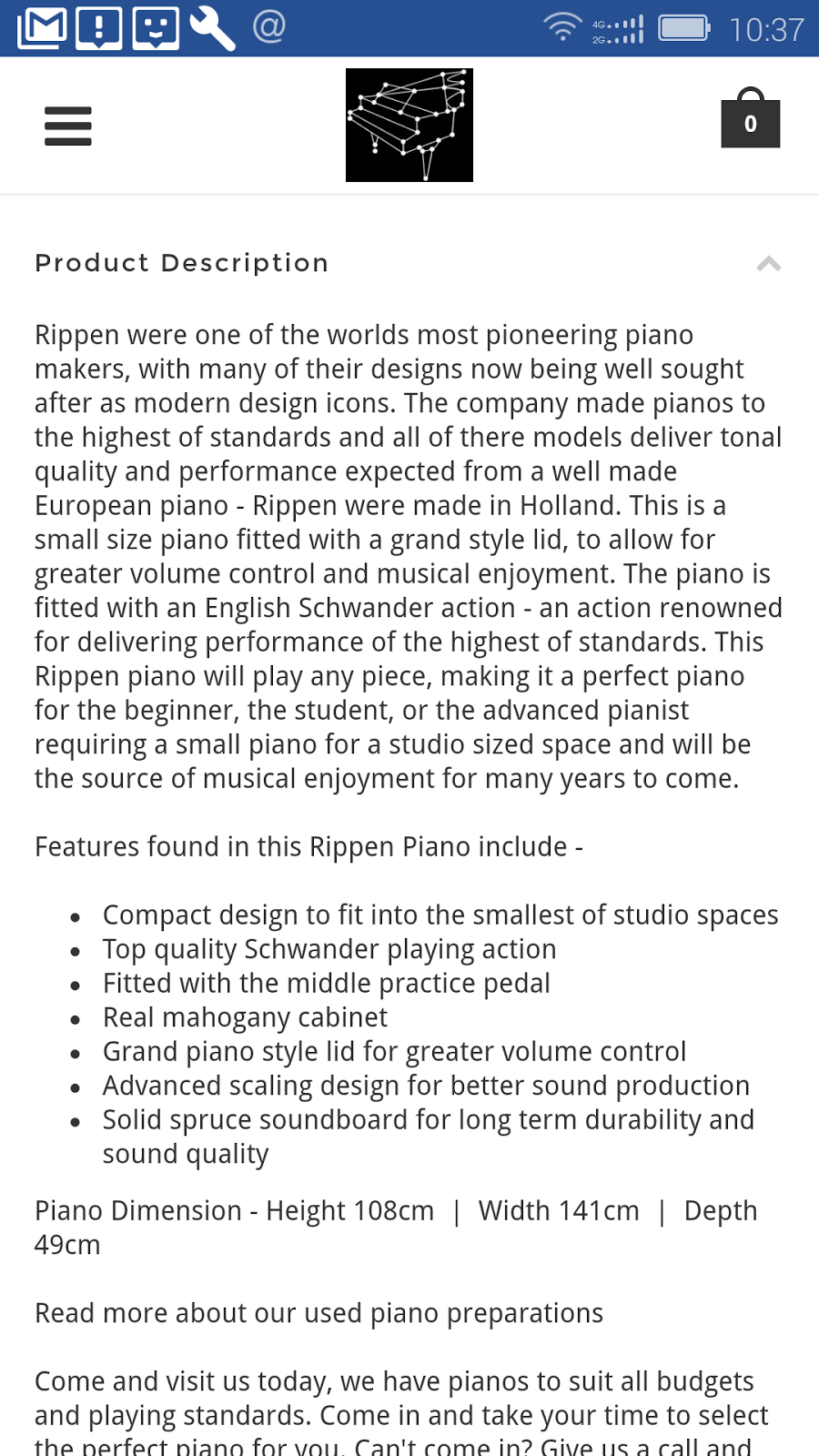 Jual Piano Bekas Kondisi Prima Sold Out RIPPEN 114cm