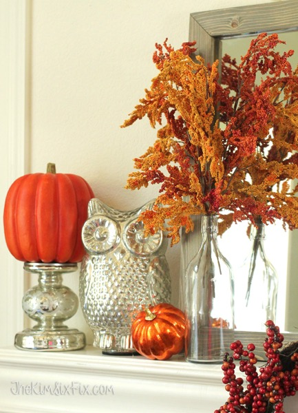 Fall orange grass and silver owl vignette