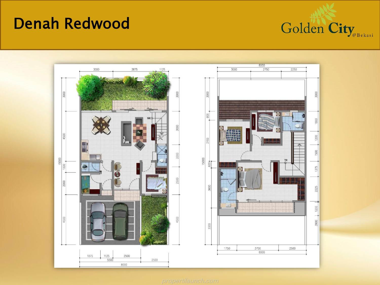 Denah Rumah Tipe Redwood Cluster Greenwood Golden City Bekasi