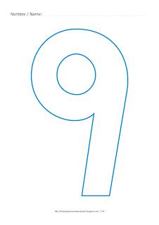 Lámina para colorear y pintar el número nueve en color cian