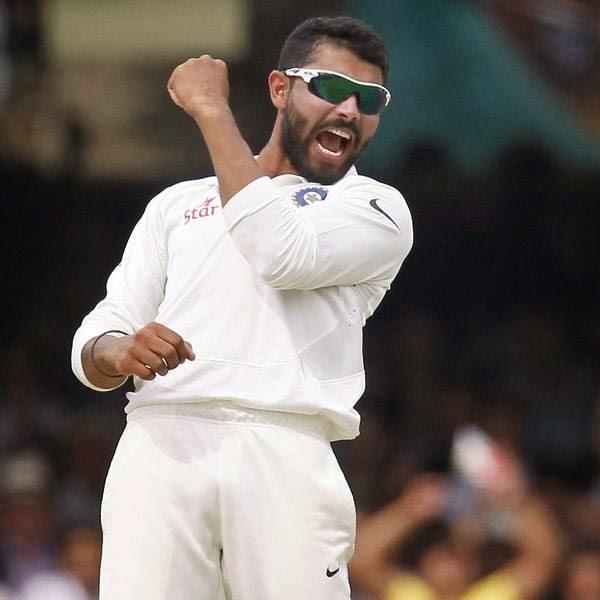 India's Ravindra Jadeja celebrates taking the wicket of England's Sam Robson for seven runs during the fourth day of the second Test cricket match between England and India, at Lord's Cricket Ground in London, England on July 20, 2014.