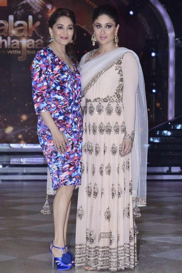 Madhuri Dixit and Kareena Kapoor on the sets of Jhalak Dikhhla Jaa 7.(Pic: Viral Bhayani)<br />