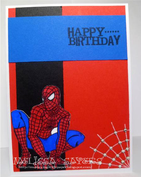 playing with paper spiderman birthday, Birthday card