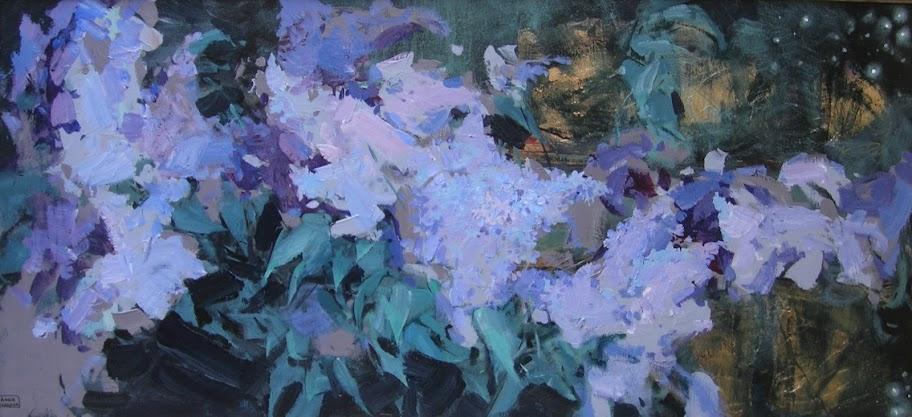 Анна Сярова, Южная ночь.Сирень, смешанная техника, 50х110 см