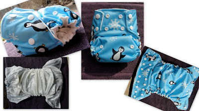Blue Penguin Print Pul with Panne Interior